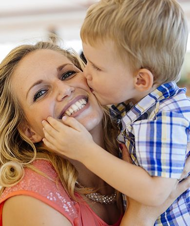 Mother with her boy hoping to ture molluscum contagiosum, smiling
